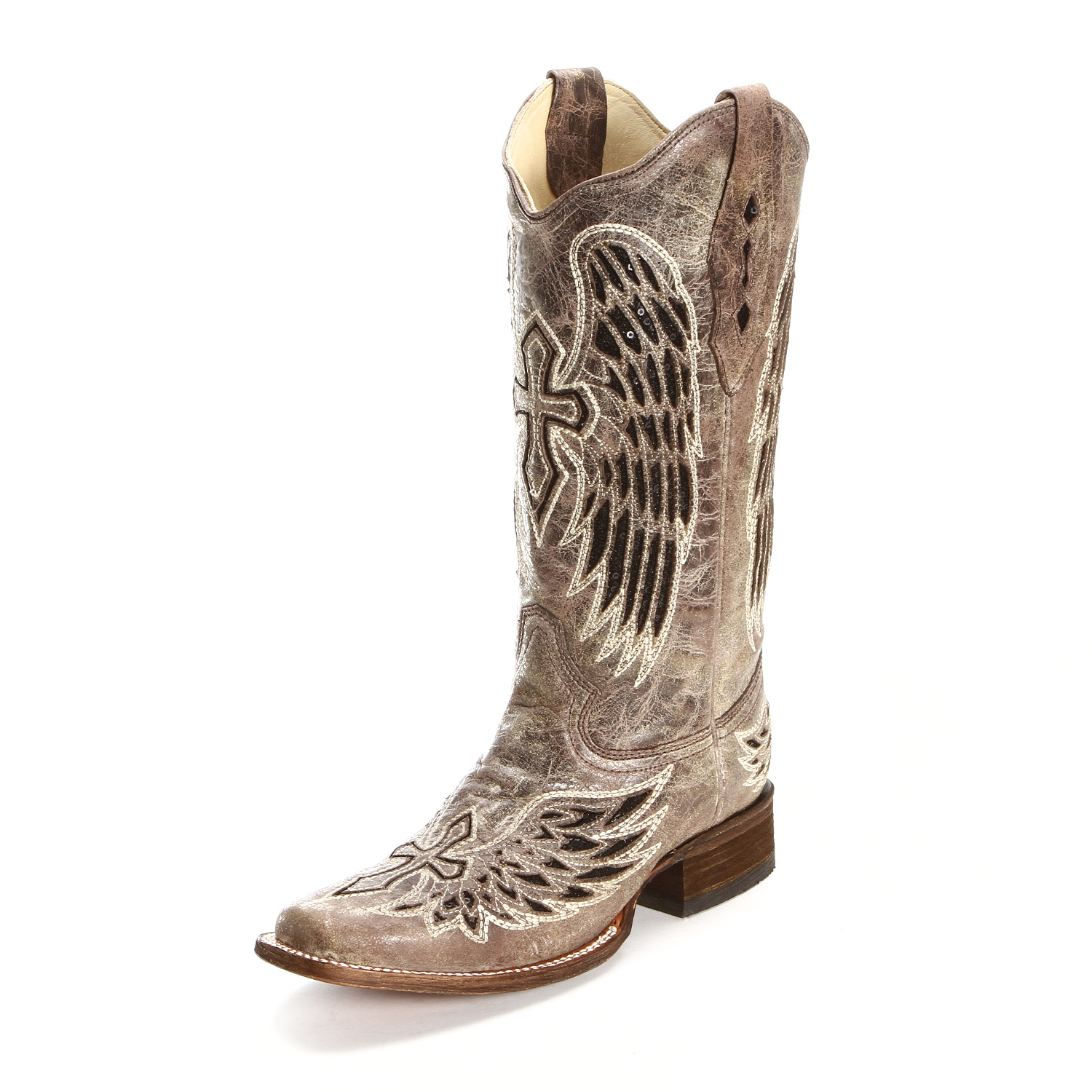 Excellent Corral  Women39s SandCognac Laser Overlay Square Toe Boot  A2870