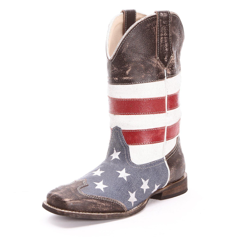 Roper Childrens Unisex American Flag Square Toe Cowboy ...