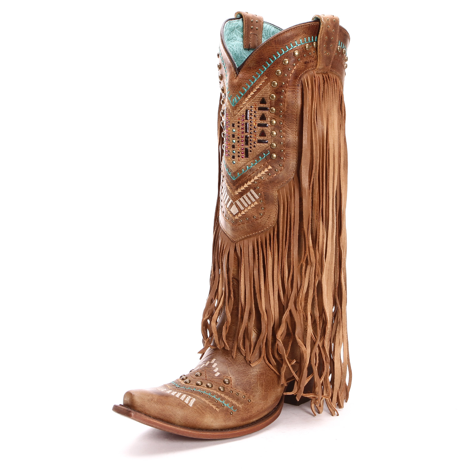 Corral Women's Fringe Snip Toe Tan Cowgirl Boots