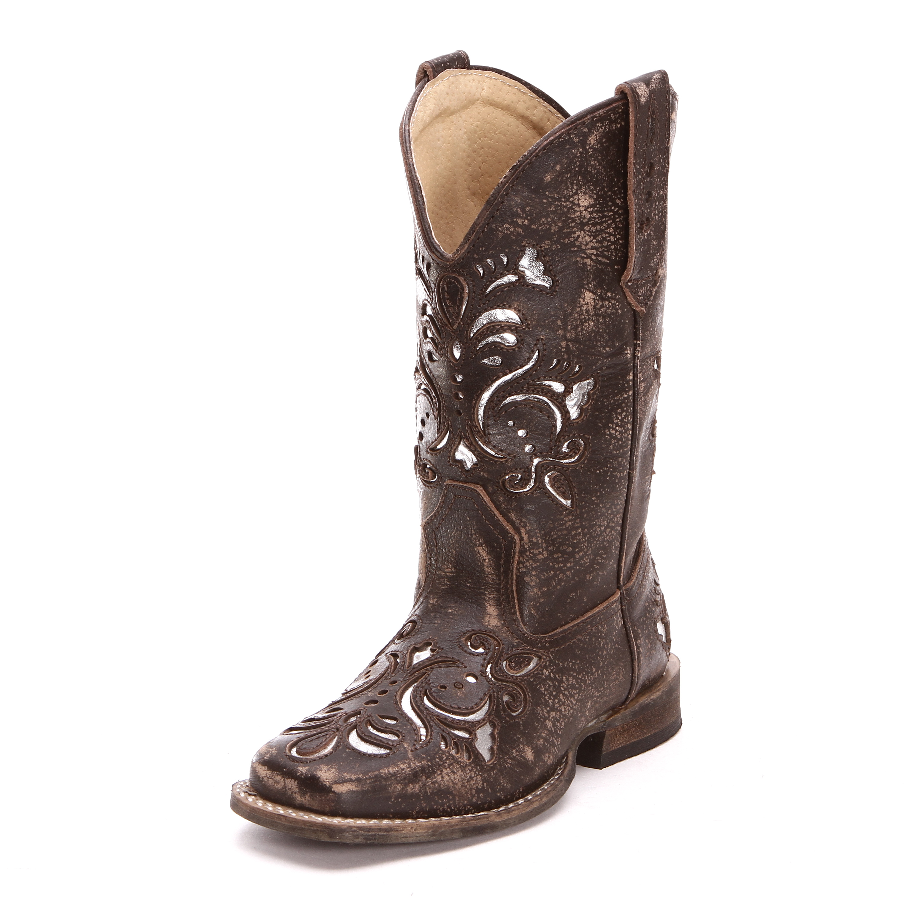 c5f168a8859 Roper Childrens Girls Inlay Square Toe Cowboy Boots Brown
