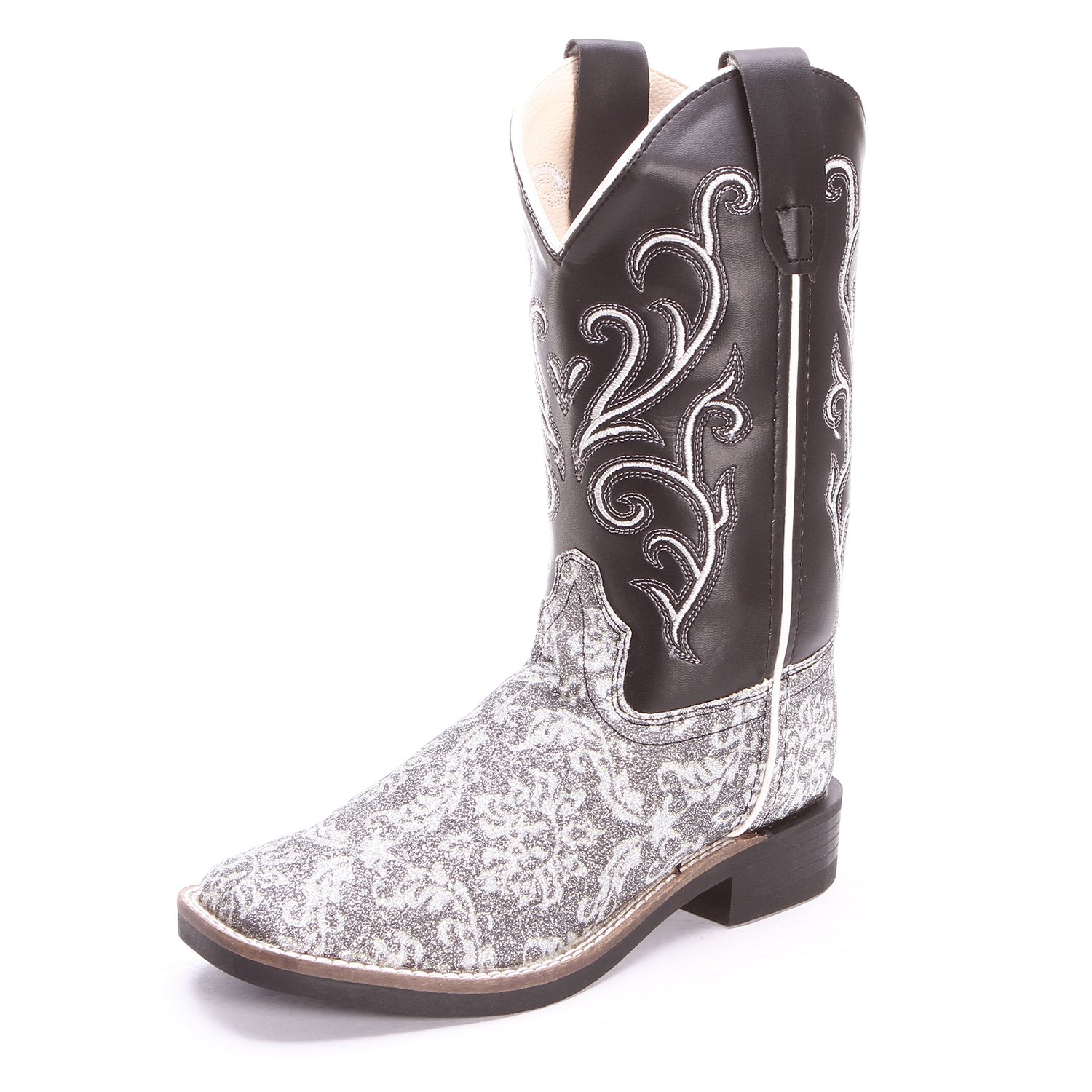 Old West Childrens Girls Glitter Floral Square Toe Cowboy Boots Silver