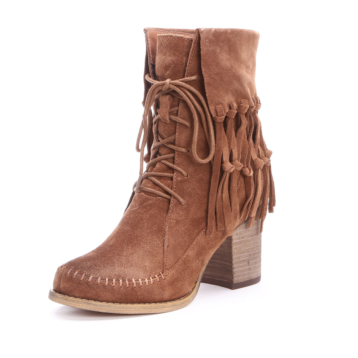 Sbicca Womens Wagon Lace-Up Fringe Ankle Cowgirl Boots Tan