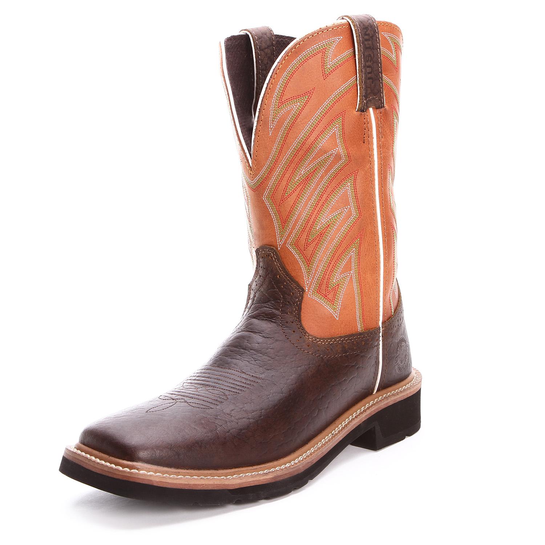 Justin Mens Stampede Square Toe Work Boots Chestnut