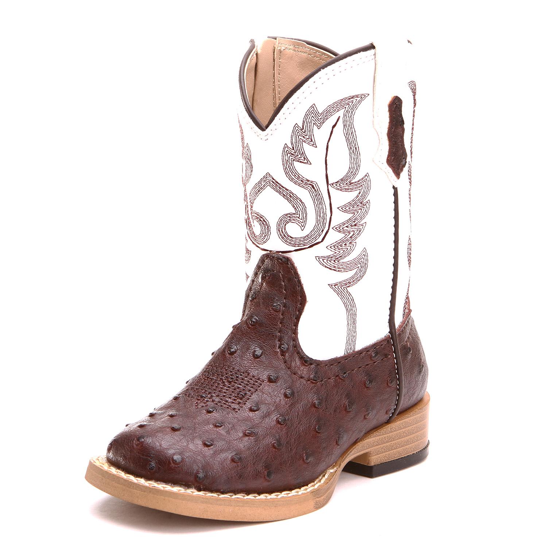 64ea4b531ed Roper Toddler Boys Ostrich Print Cowboy Boot Brown White