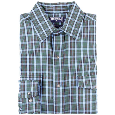 Panhandle slim blue and green plaid long sleeve big and for Blue and green tartan shirt