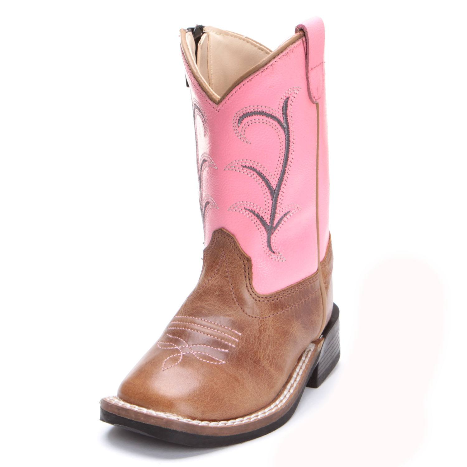 19db26eaa40 Old West Toddler Girls Zipper Distressed Cowboy Boots Pink