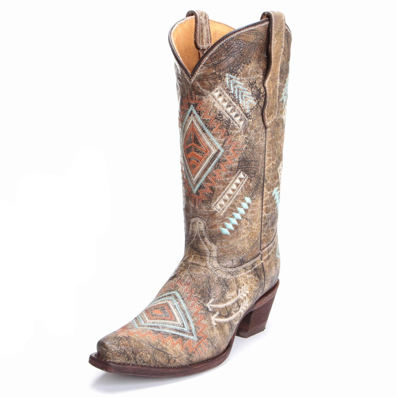 e216dd9c53f Corral Youth Girls Aztec Diamond Snip Toe Cowboy Boots Multicolor