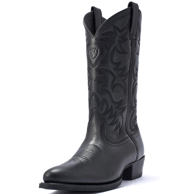 Ariat Mens Heritage Western Deertan Cowboy Boots Black