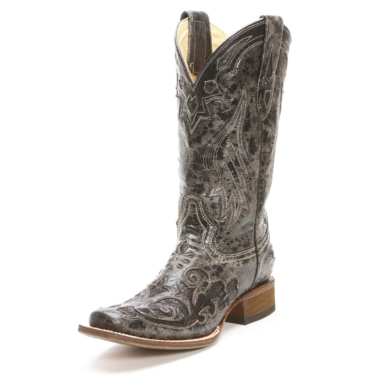 Corral Womens Vintage Python Overlay Cowboy Boots Black