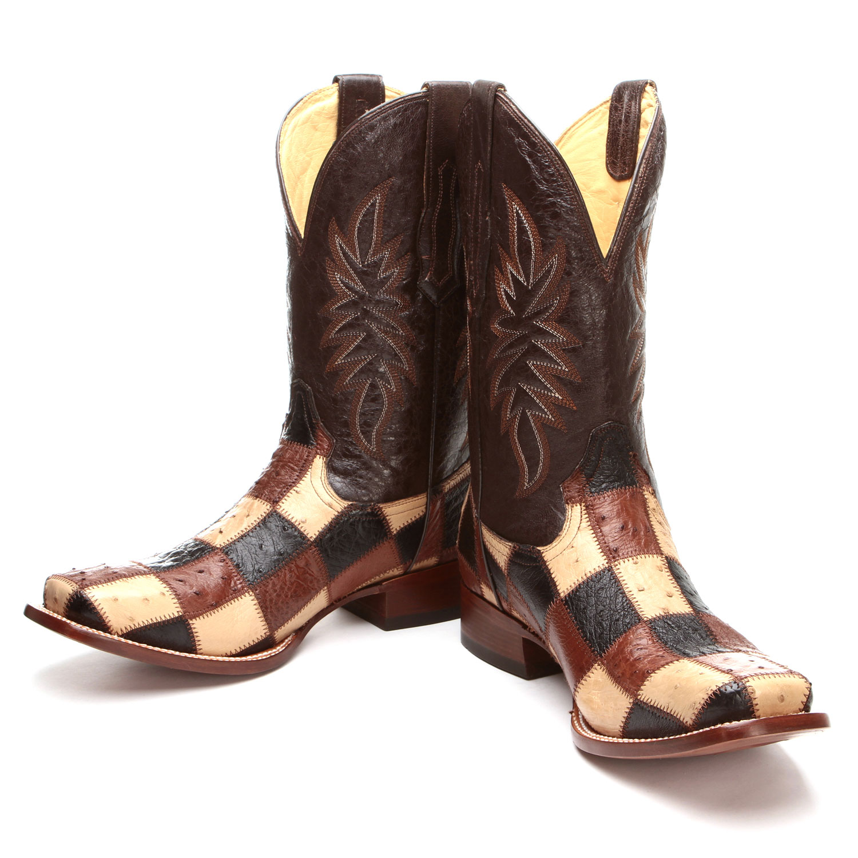 corral multi color patchwork square toe ostrich cowboy boots
