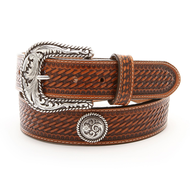 Justin Tan Basketweave Concho Belts