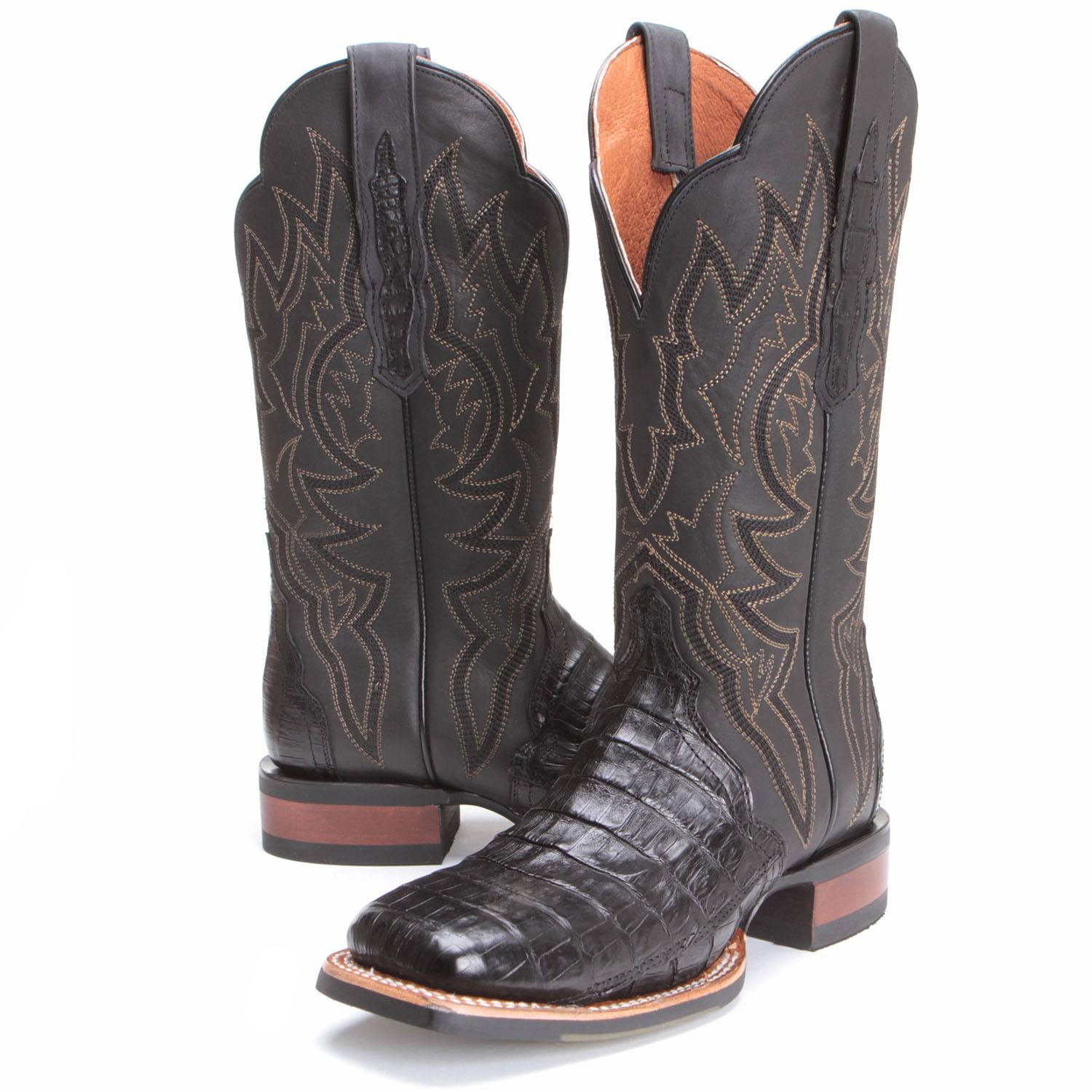 546161d8262 BootDaddy with Dan Post Womens Alligator Caiman Cowboy Boots Black