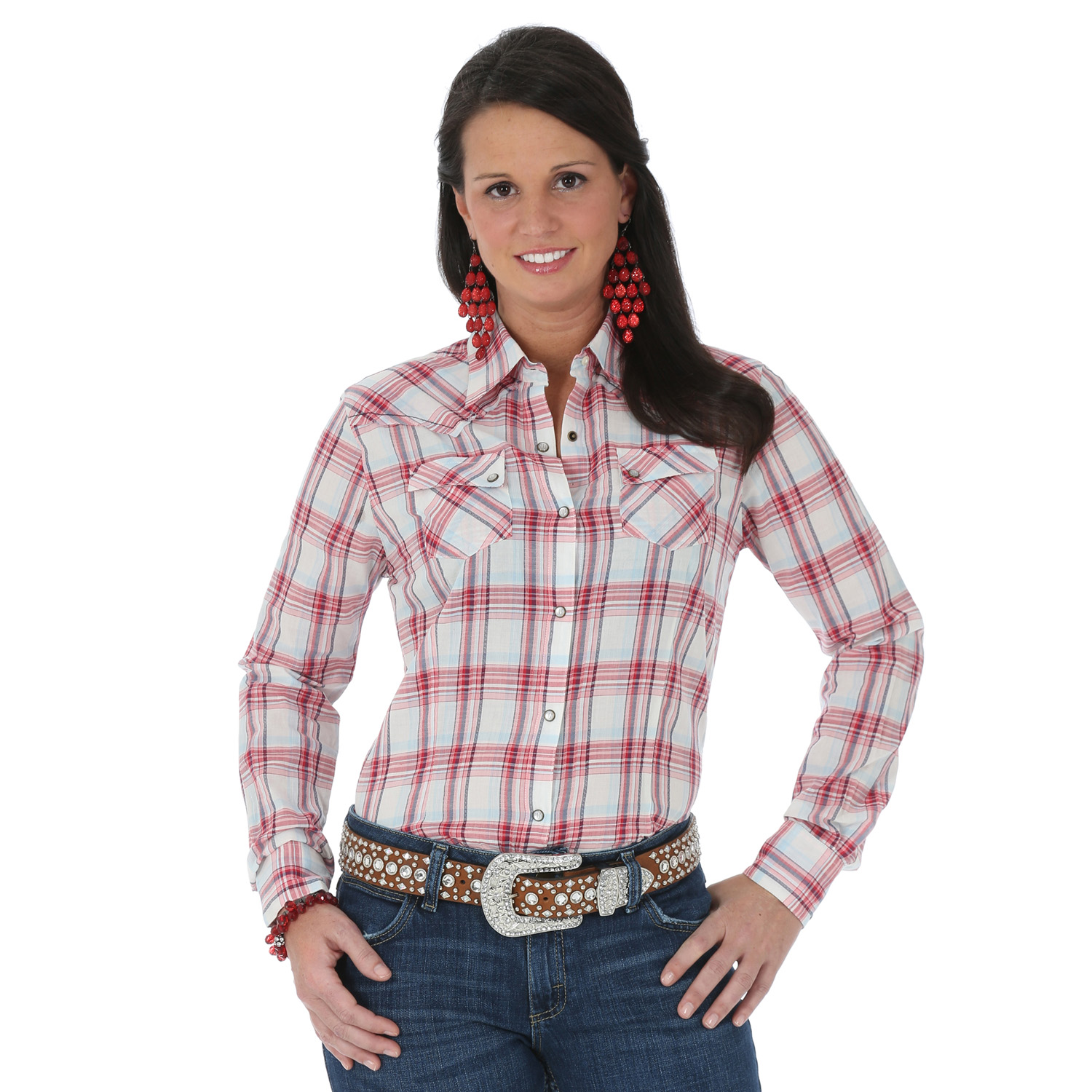 6ebb2d361e9 Red And Navy Plaid Womens Shirt – EDGE Engineering and Consulting ...