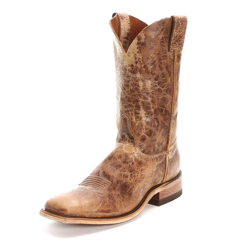 Justin Bent Rail Road Square Toe Cowboy Boots Tan