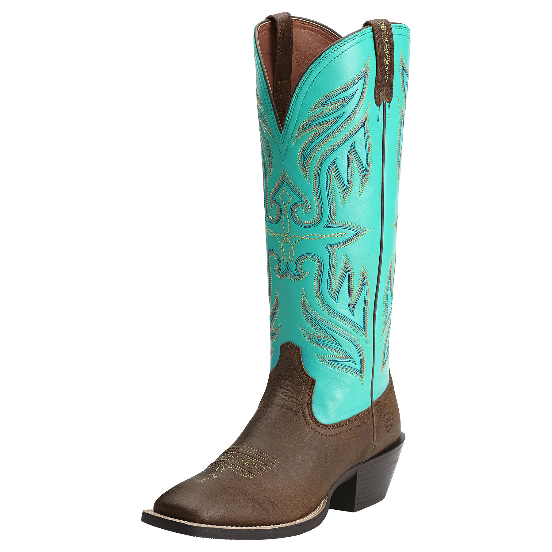 Ariat Women's Round Up Buckaroo Square Toe Brown Cowgirl Boots