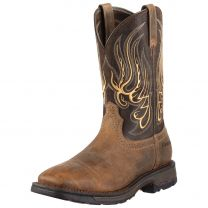 Ariat Mens Mesteno WorkHog Wide Square Toe Work Boots Earth