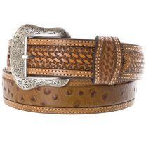 Nocona Tan Ostrich Print Belts