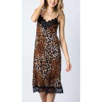 Vocal Womens Black Lace Leopard Print Dress