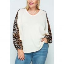 Vocal Womens Plus Size Leopard Print Long Sleeve Shirt