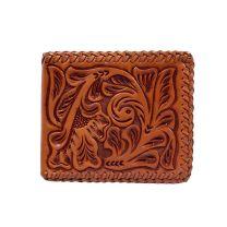 3D Western Mens Cognac Embossed Leather Wallet