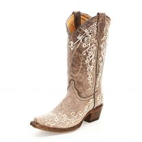 Corral Youth Girls Floral Embroidered Cowboy Boots Brown
