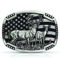 Montana Silversmiths Attitude Deer and Flag Buckle