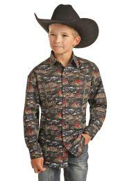 Dale Brisby Children Boys Vintage Western Snap Shirt
