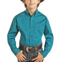 Panhandle Slim Children Boys Teal Button Down Shirt