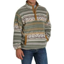 Cinch Mens Olive Printed Fleece Pullover Sweater