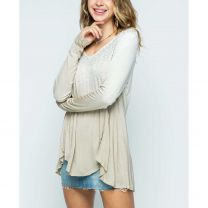 Vocal Womens LS Ombre Taupe Dye Rhinestone Top
