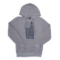 BootDaddy Unisex American Flag Faith Cross Hoodie