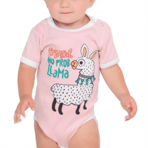 Baby Pink No Prob Llama Onesie