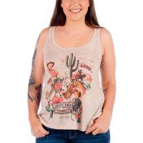 Liberty Wear Womens Vintage Cowgirl Print Tank Top