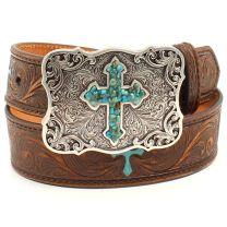 Nocona Children Girls Turquoise Cross Leather Belt