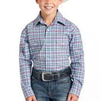 Panhandle Slim Children Boys Blue Plaid Snap Shirt