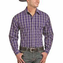 Panhandle Slim Mens Purple Plaid Snap Shirt