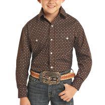 Roper Children Boys Brown Western Snap Shirt