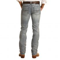 Rock and Roll Mens Light Vintage Wash Slim Straight Jeans