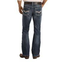 Rock and Roll Mens Dark Vintage Regular Boot Cut Jeans