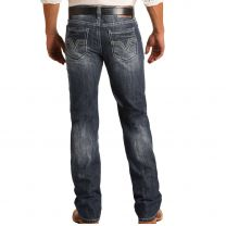 Rock and Roll Mens Dark Vintage Relaxed Straight Jeans