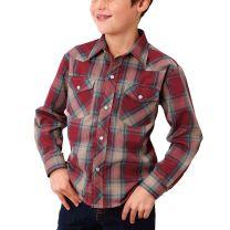 Roper Children Boys Red Plaid Snap Shirt