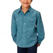 Roper Children Boys Blue Southwest Snap Shirt