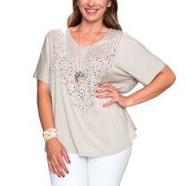Voice of California Womens Plus Size Rhinestone Shirt Gray