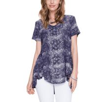 Vocal Womens Sparkling Navy Blue Shirt