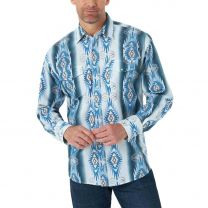Wrangler Mens Blue Western Checotah Snap Shirt