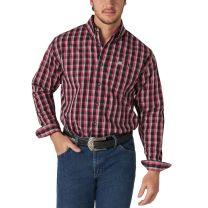 Wrangler Mens Black and Red Plaid Button Down Shirt