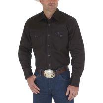 Wrangler Mens Black Twill Work Shirt