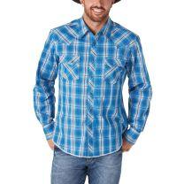 Wrangler Mens Blue Plaid Western Snap Shirt