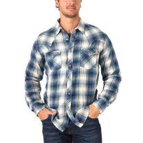 Wrangler Retro Premium Mens Blue Tan Plaid Snap Shirt
