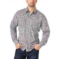 Wrangler Retro Premium Mens Gray Paisley Snap Shirt